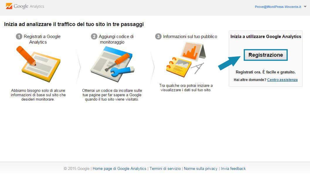 Come usare google analytics-Step1