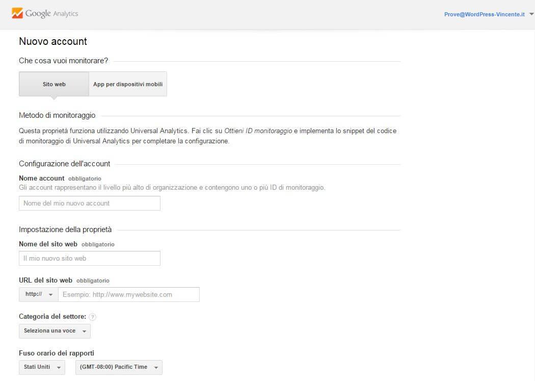 Come usare google analytics-Step2
