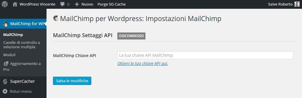 MailChimp su WordPress-API