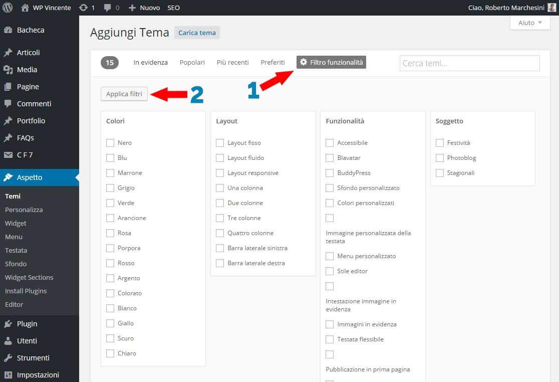 Come installare tema WordPress- Parte2