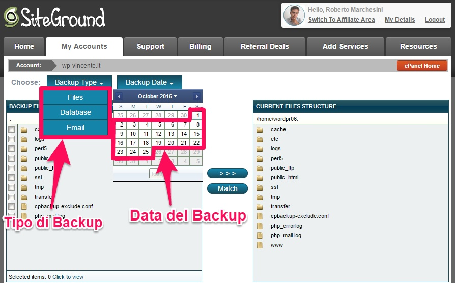Backup WordPress con hosting
