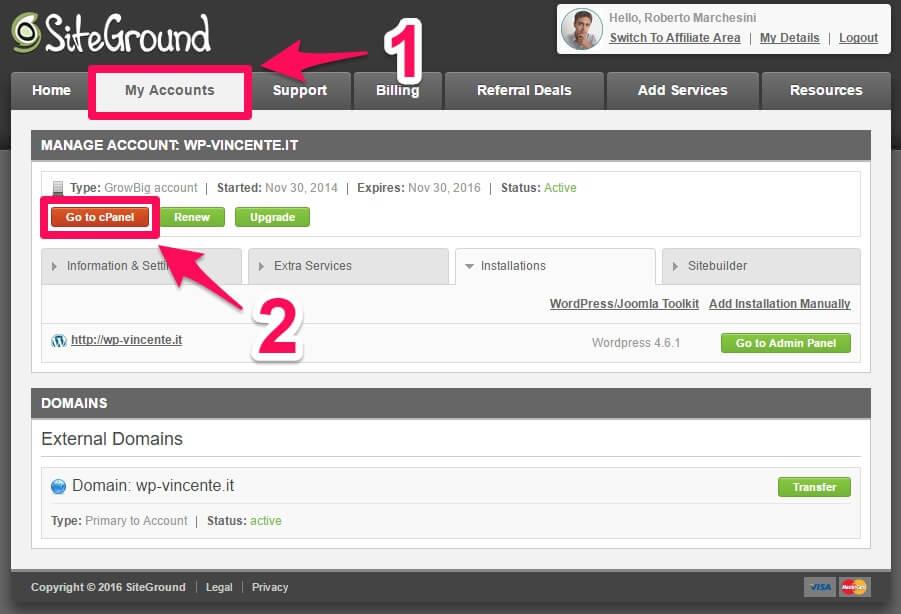 Installare WordPress su hosting SiteGround-parte1