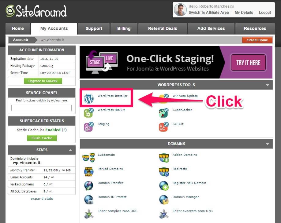 Installare WordPress su hosting SiteGround-parte2