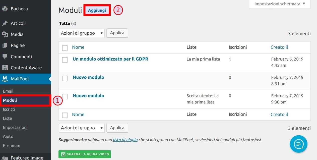 Come creare una newsletter con MailPoet 3