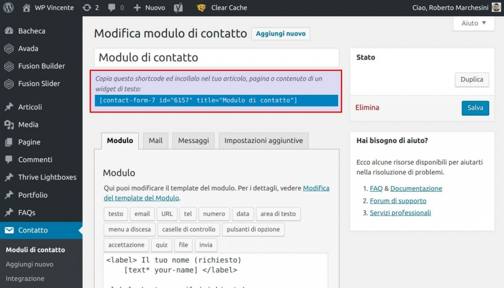 Come installare Contact Form 7 - Step3