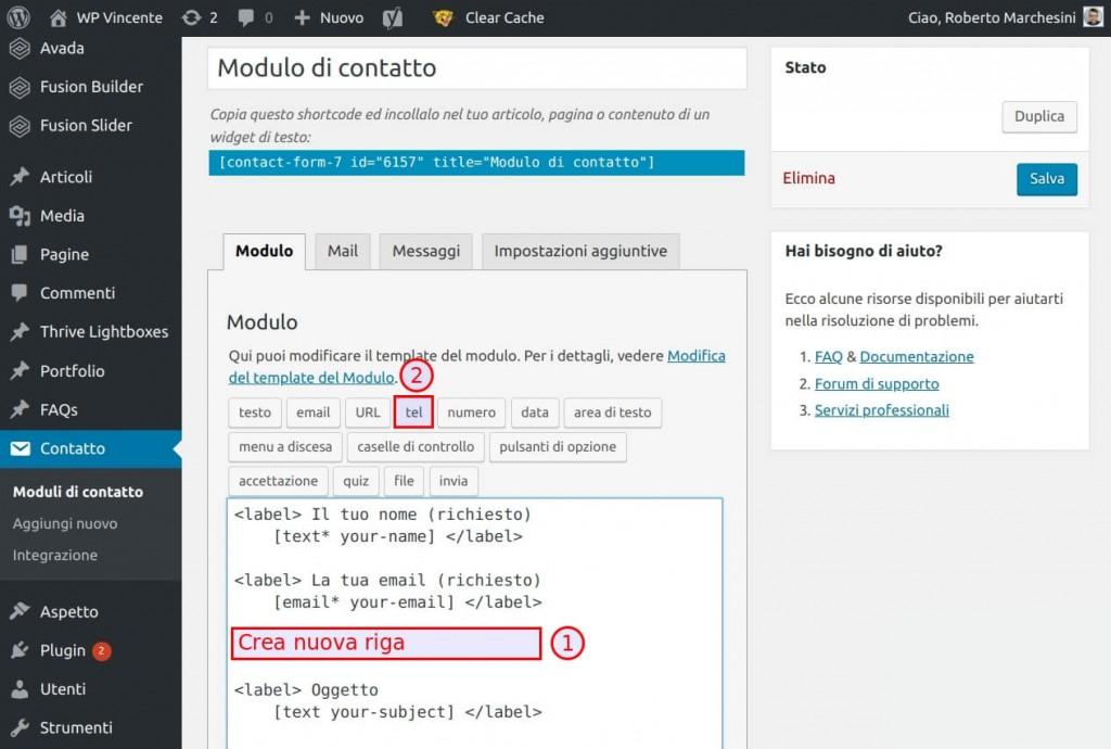 Come modificare il modulo Contact Form 7 - Step1