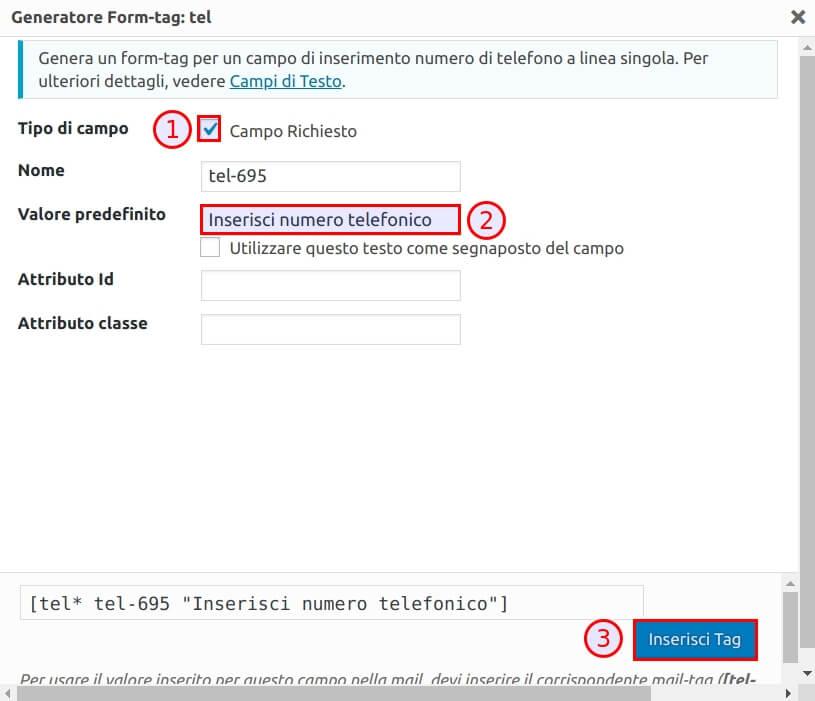 Come modificare il modulo Contact Form 7 - Step2