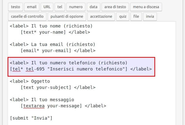 Come modificare il modulo Contact Form 7 - Step3