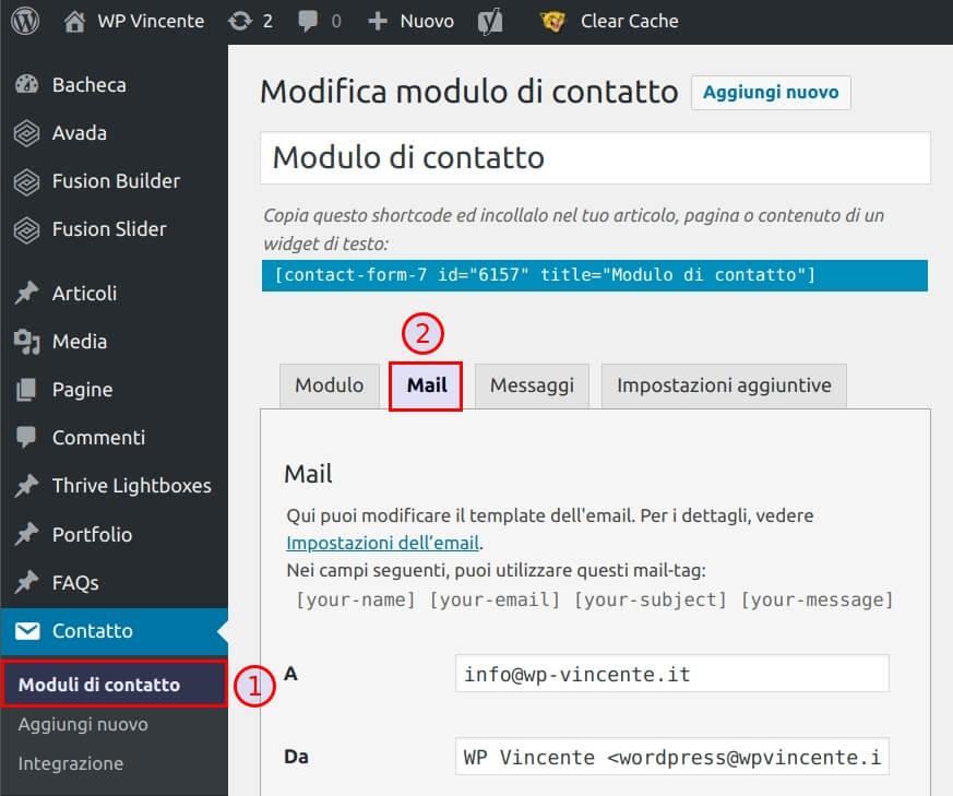 Come modificare la mail in arrivo - Step1