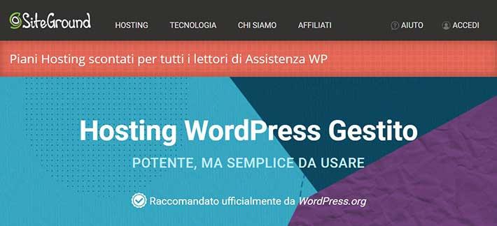 Miglior hosting-SiteGround