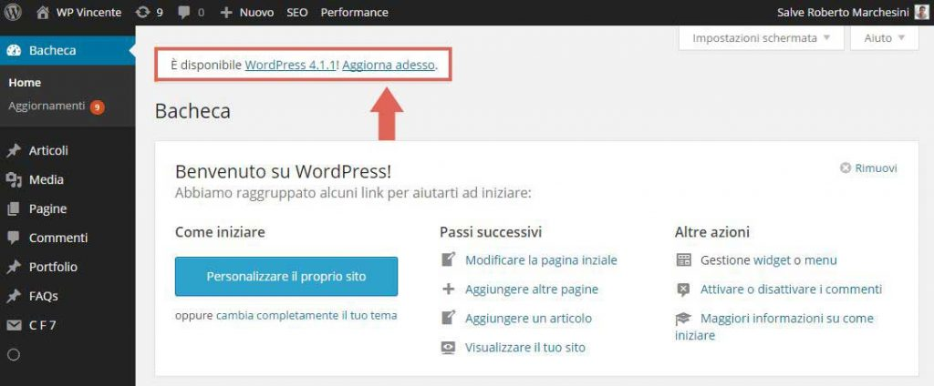Aggiornamento Automatico WordPress