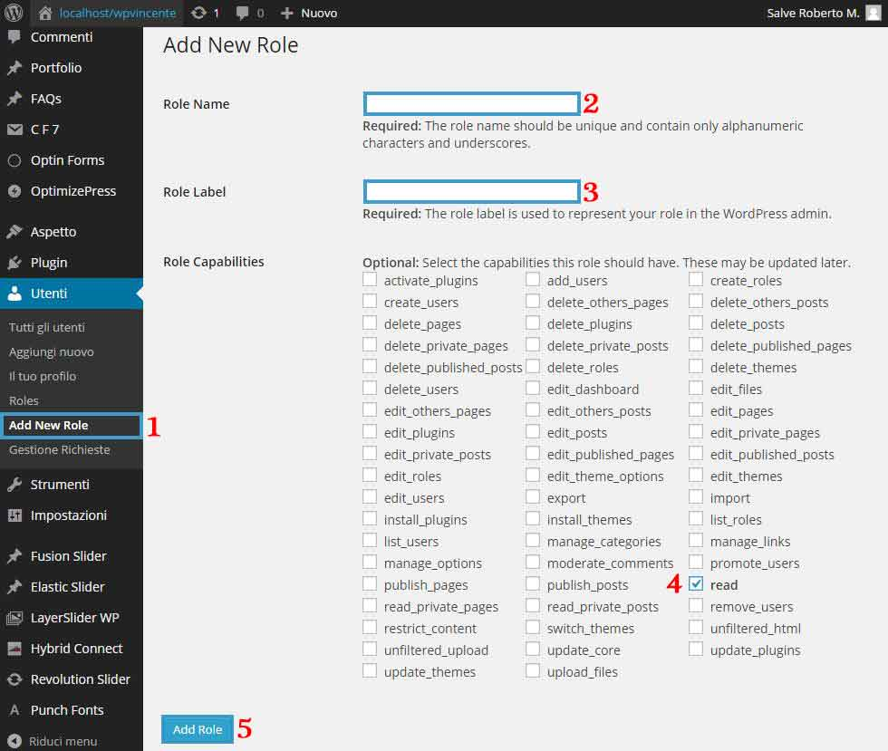 Area Riservata WordPress Step 2