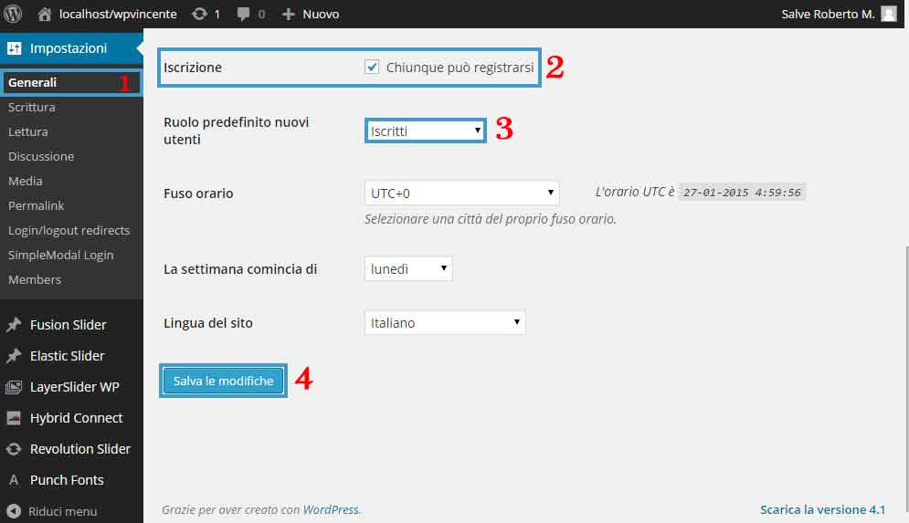 Area Riservata WordPress Step 3