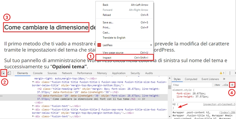 Come cambiare dimensione carattere WordPress-Step10