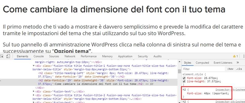 Come cambiare dimensione carattere WordPress-Step11