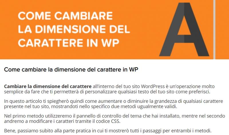 Come cambiare dimensione carattere WordPress-Step3