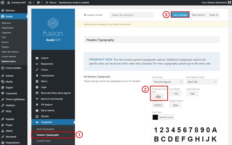 Come cambiare dimensione carattere WordPress-Step4