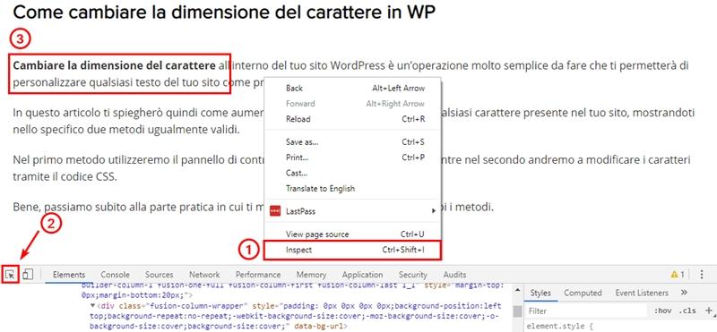 Come cambiare dimensione carattere WordPress-Step7