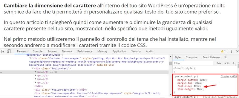 Come cambiare dimensione carattere WordPress-Step8