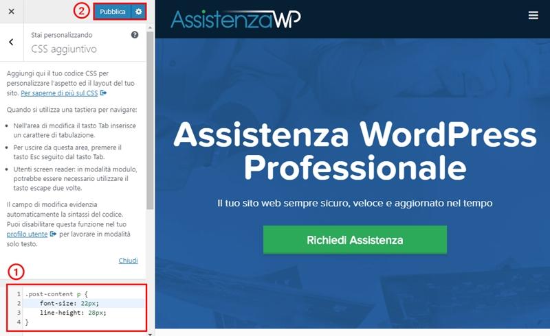 Come cambiare dimensione carattere WordPress-Step9