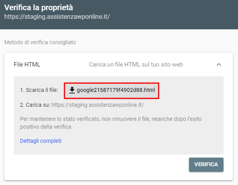 Come collegare WordPress-Google Search Console-Step4