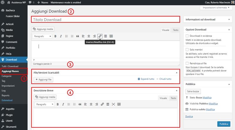 Come creare area download WordPress-Step2