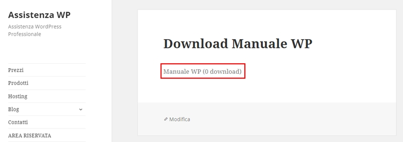 Come creare area download WordPress-Step7