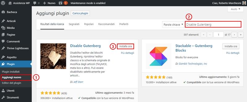 Come disabilitare Gutenberg WordPress-Step1