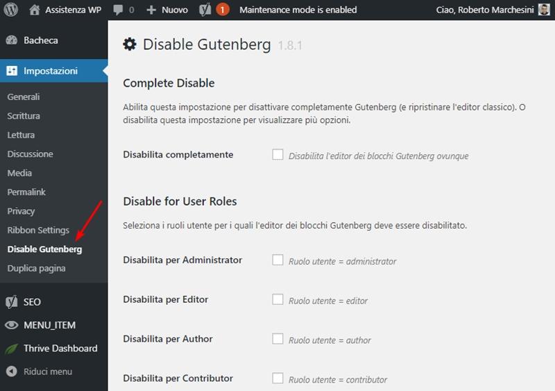 Come disabilitare Gutenberg WordPress-Step2