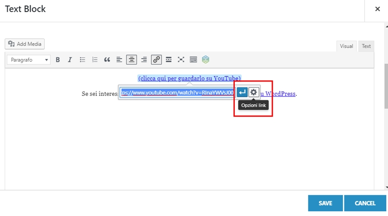 Come inserire link nofollow WordPress-Step2