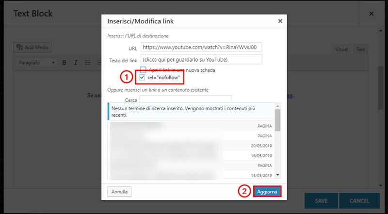 Come inserire link nofollow WordPress-Step3