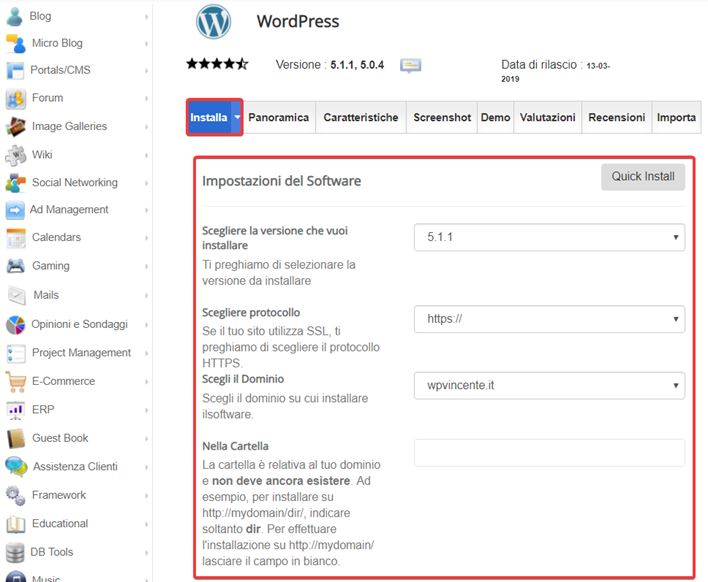 Come installare WordPress sottocartella-Step2