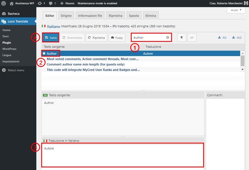 Come modificare modulo commenti WordPress-Step10
