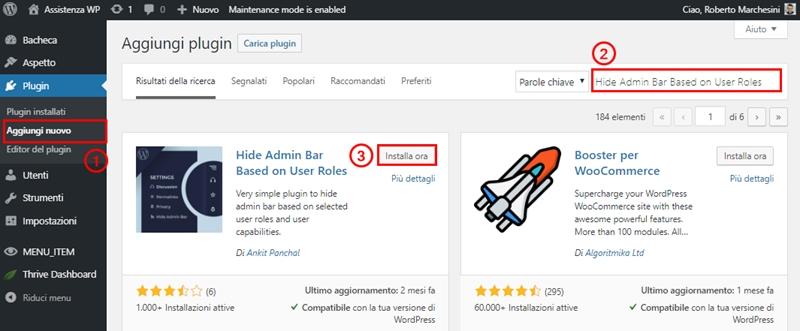 Come nascondere barra admin WordPress-Step2