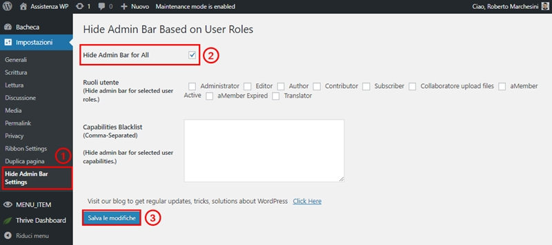 Come nascondere barra admin WordPress-Step3