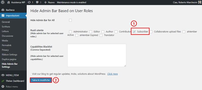 Come nascondere barra admin WordPress-Step5