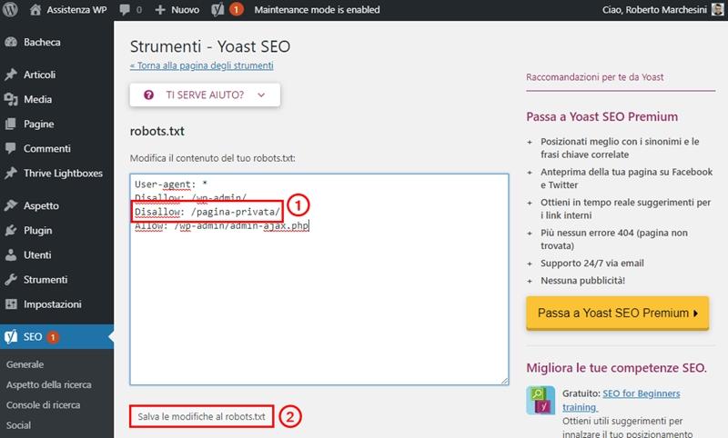 Come non indicizzare pagina WordPress-Step6