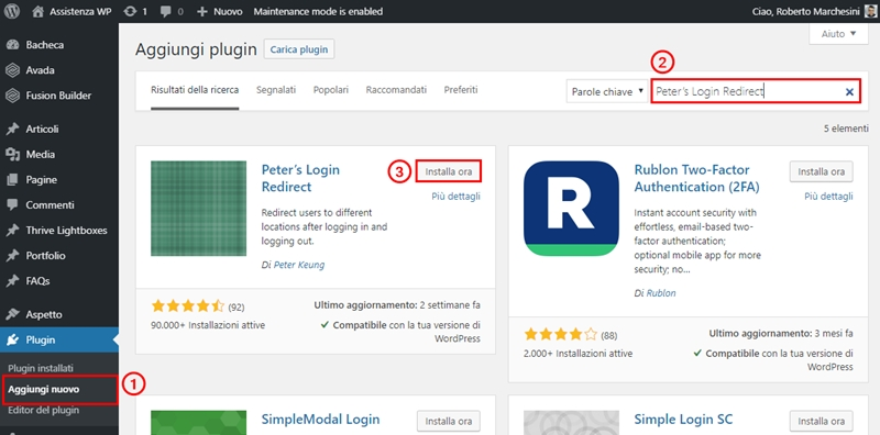 Come reindirizzare utenti WordPress dopo login-Step1