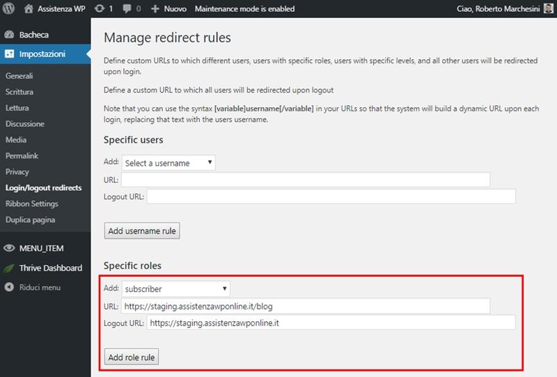 Come reindirizzare utenti WordPress dopo login-Step6
