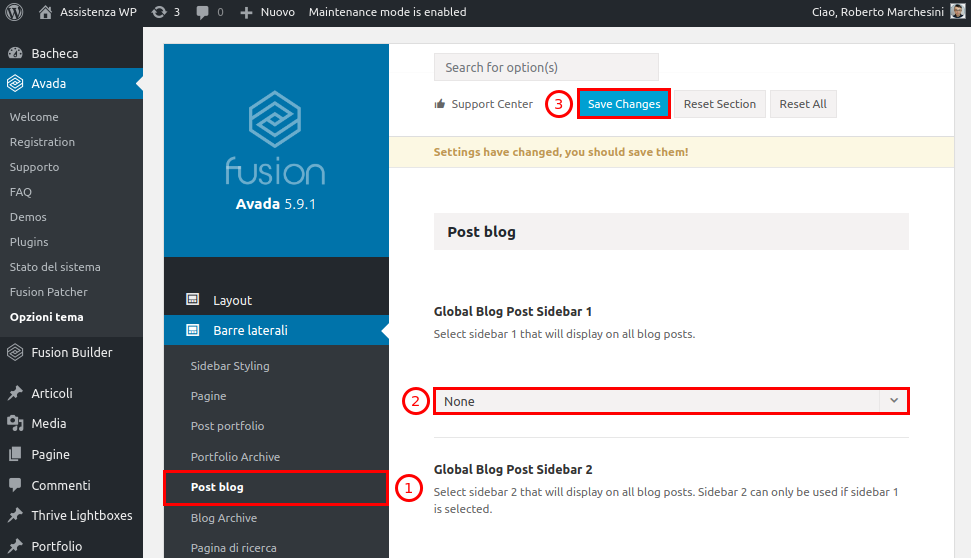 Come rimuovere barra laterale WordPress-Step2