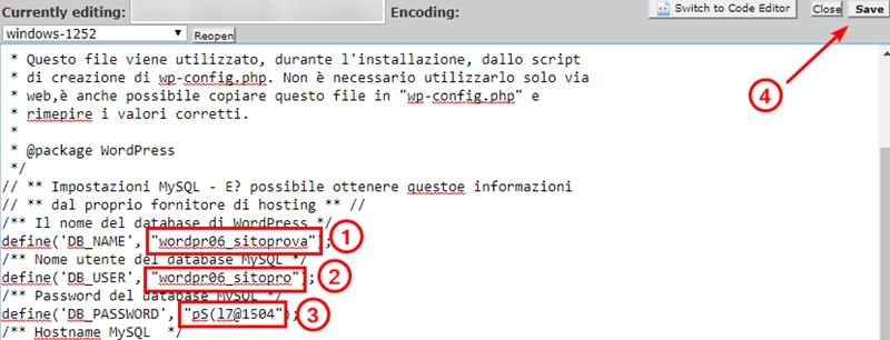 Come risolvere errore connessione database WordPress-Step8