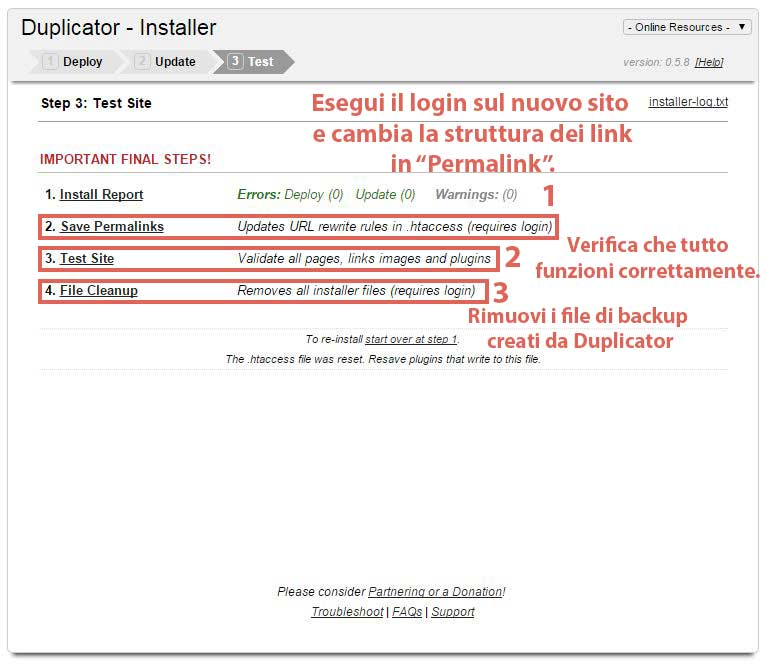 Duplicator Step 10