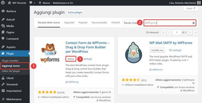 WPForms-come creare moduli contatto-Step1