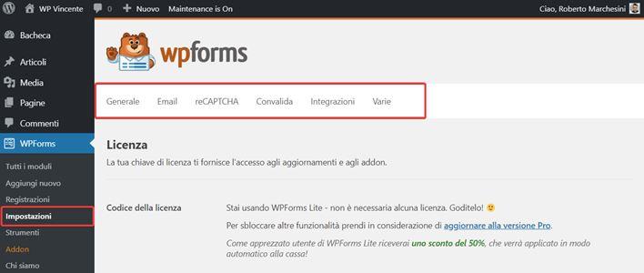 WPForms-come creare moduli contatto-Step2